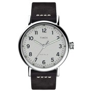 Timex Standard 40Mm Leather Watch Silver Brown