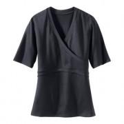Kurzarm-Wickel-Shirt, 42 - Schwarz