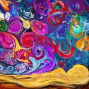 Tablou Canvas Abstract flori 70 x 70 cm Rama lemn Multicolor