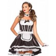 Lyxig french maid-klänning med paljettdekorerat liv, maskeraddräkt i 3 delar