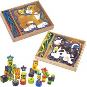 Melissa & Doug Lace and Trace Pets, Farm, and Deluxe Wooden 27-Piece Lacing Beads in a Box Bundle