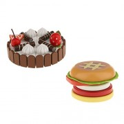 Baoblaze Wooden Simulation Magnet Connected Birthday Cake & Hamburger Kids Pretend Play Kitchen Food Toy Gift