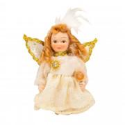 Papusa Zana de portelan, 8 cm, rochie crem+auriu, de colectie