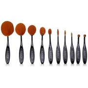 Wunder2 OH!VAL Professional Makeup Brushes for Liquid and Powder Makeup Premium Oval Makeup Brush Set for Face, Eyes, Brows, Lips, 10pcs