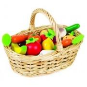 JANOD Drewniane owoce i warzywa w koszyku - 24 sztuki zestaw z koszykiem,