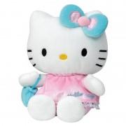 Hello Kitty Pluche Hello Kitty met roze jurkje 15 cm