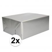Shoppartners 2x Kadopapier zilveren 70 x 200 cm