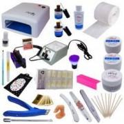 Kit unghii false cu lampa UV freza electrica geluri de constructie si accesorii + CADOU casti telefon tip Earpods