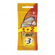 Bic 3 Action Sensitive Disposable Razors 6 st Engångsrakhyvlar