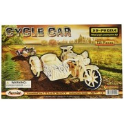 Puzzled Inc. 3D Natural Wood Puzzle - Cycle Car