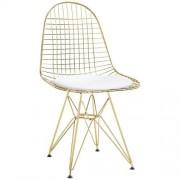 KH Krzesło Net Gold biała poduszka