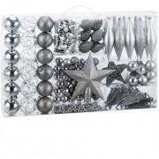 Sada stříbrných vánočních baněk 102ks