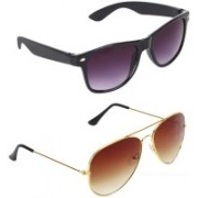 WHAY Wayfarer, Aviator Sunglasses(Brown, Blue)