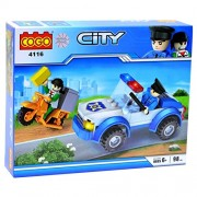 LittleHamlet City Police Car & Scooter Vehicle - 98 pcs