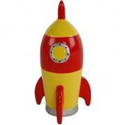 Merkloos Spaarpot ruimteraket geel