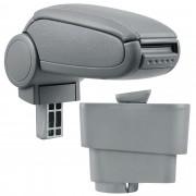 Подлакътник [pro.tec]® Fiat Grande Punto с контейнер за съхранение, Изкуствена кожа/Сив