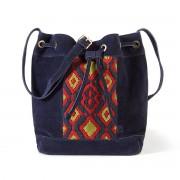 La Redoute Collections Tasche, Eimer-Form, Ethno-Design, Leder