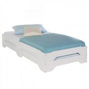IDIMEX Lot de 2 lits superposables RONNY en pin, 90 x 200 cm, lasuré blanc