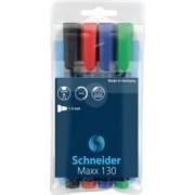 Permanent marker SCHNEIDER Maxx 130 varf rotund 1-3mm 4 culori-set -N.R.A.V