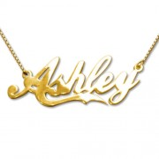 Personalized Men's Jewelry Personalized 18K Gold Plated Silver Coca-Cola Font Name Necklace 101-01-091-08