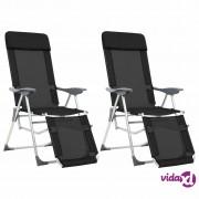 vidaXL Sklopive stolice za kampiranje 2 kom crne aluminijske