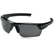 Under Armour Igniter 2.0 anteojos de sol rectangulares, color negro y gris, talla única
