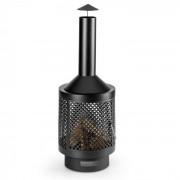 Blumfeldt Essos Chimenea de jardín Estufa de leña Ø45cm Rejilla Chapa de acero negra (HHG10-Essos)