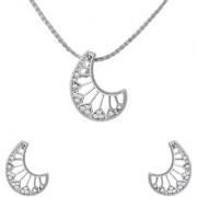 Mahi Crystal Crescent Moon Rhodium Plated Pendant Set for Women NL1102716R