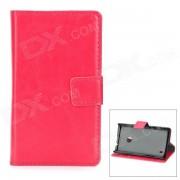 A-520 Funda protectora de cuero PU Flip-Open para Nokia Lumia 520 - Rojo