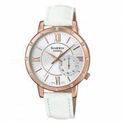 reloj multiuso casio SHE-3046GLP-7A - blanco + oro rosa