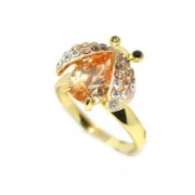 Katicabogaras Swarovski kristályos gyűrű, arany színű