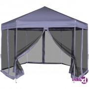 vidaXL Heksagonalni Pop-Up Šator sa 6 Panela Tamno Plavi 3,6x3,1 m