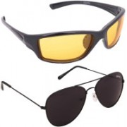 Benour Wrap-around, Aviator Sunglasses(Yellow, Black)