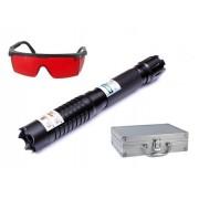 Laser Albastru cu Acumulatori si 5 Capete 3D Blue laser Pointer 50000 mW