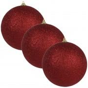 Bellatio Decorations 4x Rode grote kerstballen met glitter kunststof 13,5 cm - Kerstbal