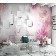 Zjxxm Pink Flower 3D Square Print Wallpaper Mural For Living Room Bedroom Papel Pintado Rollo Papel Decorativo Pared 3D Custom Size-450Cmx300Cm