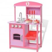vidaXL Bucătărie de jucărie din lemn 60 x 27 x 83 cm, roz