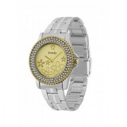 howdy Crystal Studded Analog Golden Dial Stainless Steel Chian Watch- for - Women's Girl's ss358