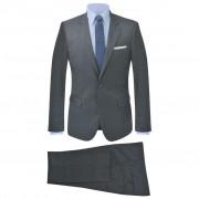 vidaXL Pánský dvoudílný kostkovaný oblek antracitový, vel. 50