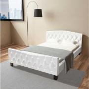 vidaXL Двойно легло и матрак с мемори пяна, 140x200 см, бяло