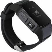 Ceas smartwatch pentru copii si adulti Wonlex EW100 cu functie telefon, buton SOS si alarma, negru