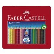 Creioane colorate Faber-Castell Grip set 24 culori cutie metal