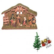 Asian Hobby Crafts Three Kings Gifts Real Life Nativity Set (9 Pieces, 12x7.5inch) with Free Tree and Hangings (1 Feet)