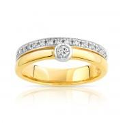 MATY Bague alliance et solitaire 2 ors 750 diamant
