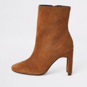 River Island Womens Beige wide fit suede heeled ankle boot (3)