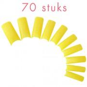 Glitter nagel tips GEEL, 70 stuks