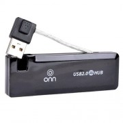 OZJONGGER Onn DCD14214 Slim 4-Port USB 2.0 Hub (Black)