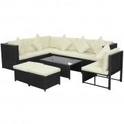 vidaXL Градински комплект с възглавници, 8 части, черен полиратан