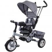 Tricicleta cu control parental detasabil, scaun reversibil, parasolar - Sun Baby - Gri