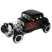 Ford Coupe Hot Rod 1932 Black w/Red Flames 1/18 Scale Motormax Model Auto